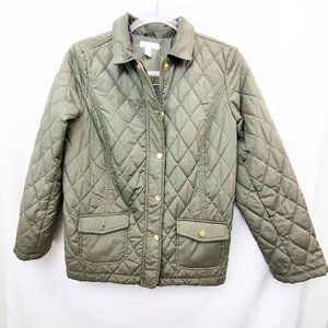 CHARTER CLUB Petite Green Quilted Barn Jacket
